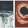 Shane PICKETT, Six Seasons Folio (2 of 6 prints shown) Djilba (left) and Bunuroo (right), 2005. Coloured etchings, edition 17 of 50. 49 x 39 cm. Donated through the Australian Government's Cultural Gifts Program by Alan R. Dodge AM, 2012.