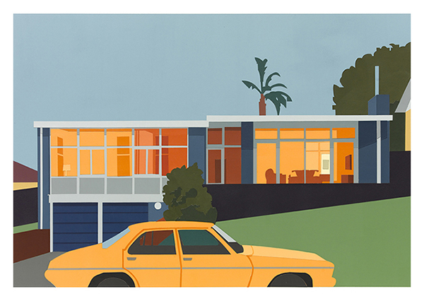 Joanna LAMB, Suburban House # 4, 2014. Collage - acrylic on paper, 45 x 65 cm. Purchased 2015
