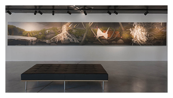 Andrew Browne, A Riverbank (culvert, detritus and apparitions), 2012. Oil on linen, 130 x 900 cm (triptych). Purchased 2017.