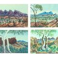 Clockwise top left. Ewald NAMATJIRA, Cordula EBATARINJA, Enos NAMATJIRA, Otto PAREROULTJA all 1954, Hermannsburg, NT, watercolours, 28 x 39 cm. Donated by the Estate of Lavinia Sinclair 2018.
