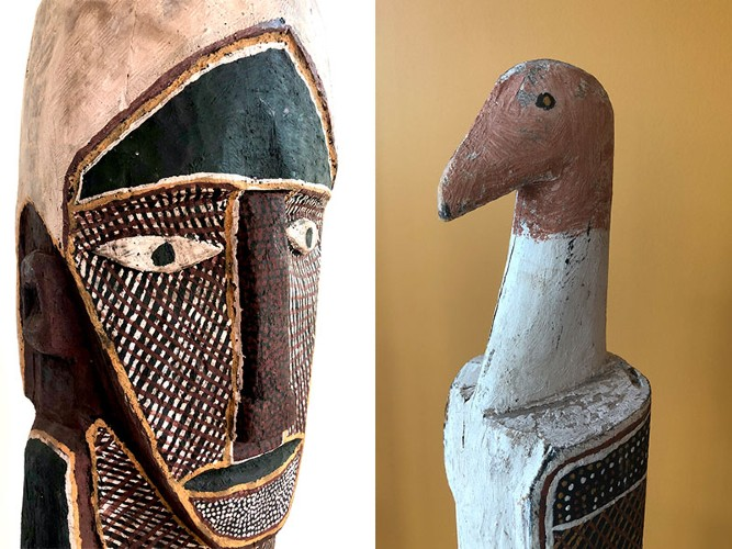 Left: (detail) Declan Apuatimi, Old Tiwi Woman, c. 1984. Purchased 2019 Right: (detail) Artist Unknown, Pukumani Pole, c.1980. Donated by John Roberts 1998. Both sculptures – natural earth pigments on carved wood.