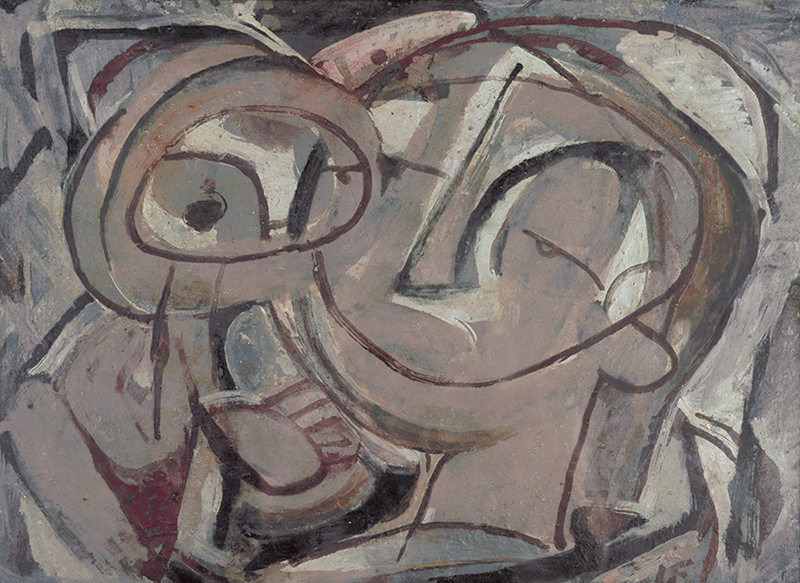 Ian Fairweather, Mother and Child, 1956. Oil and tempera paint on board, 37 x 50 cm. Donated by Dr Harold Schenberg 1975.