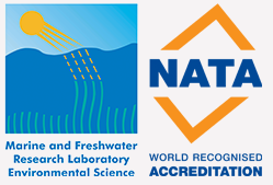 Marine and Freshwater Research Laboratory and National Association of Testing Authorities logos