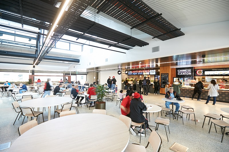 The Student Hub is a community space for eating, socialising and co-working