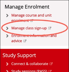 manage class signup link