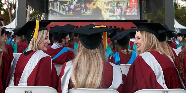 A Murdoch graduate at the graduation ceremony