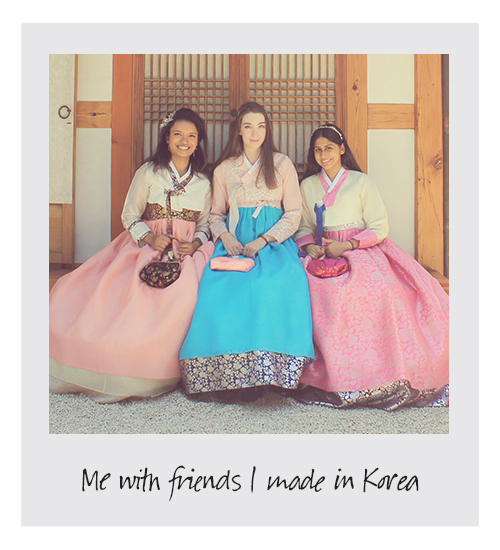 Alice Barber with friends in Korea