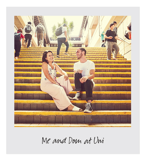 Ella and dom sitting on stairs