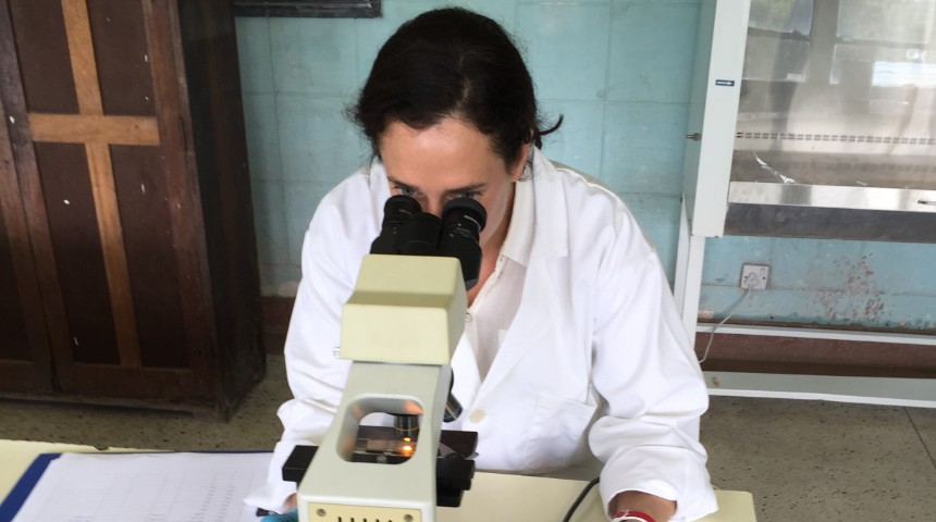 dr mieghan bruce looking through a microscope